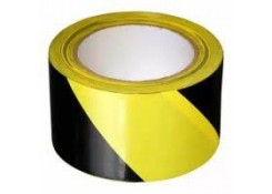 Лента оградительная желто черная 75x100м