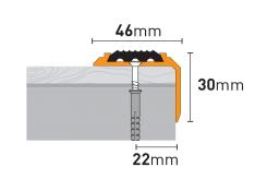 Порог алюм 0,9м широкий с резиновой вставкой шампаск мат