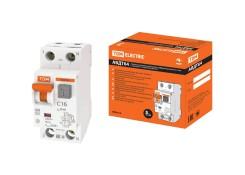 Автоматический выключатель дифф. тока АВДТ 16A C, 30мА, защ. от перенап., TDM АВДТ64